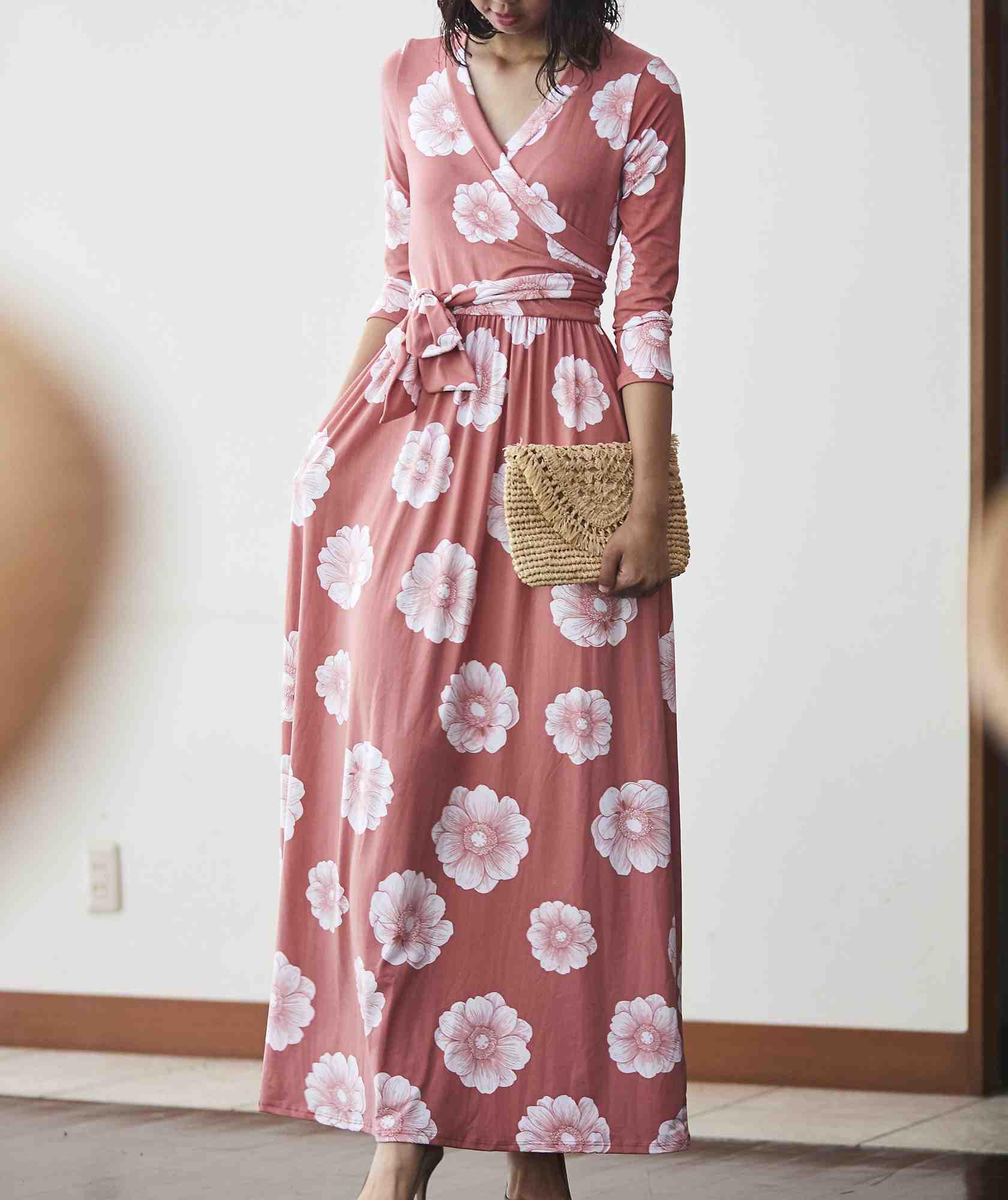 リゾートフラワーラップロングドレス-ピンク-M-L