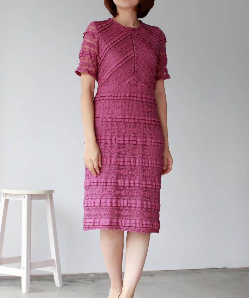 ストライプレースタイトラインミディアムドレス-ダークピンク-M