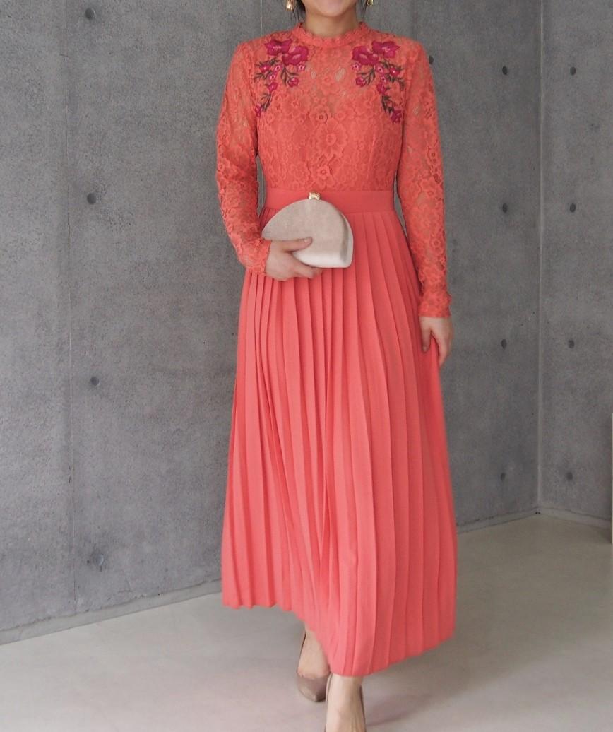 レーストッププリーツフラワーミディアムドレス-ピンク-M