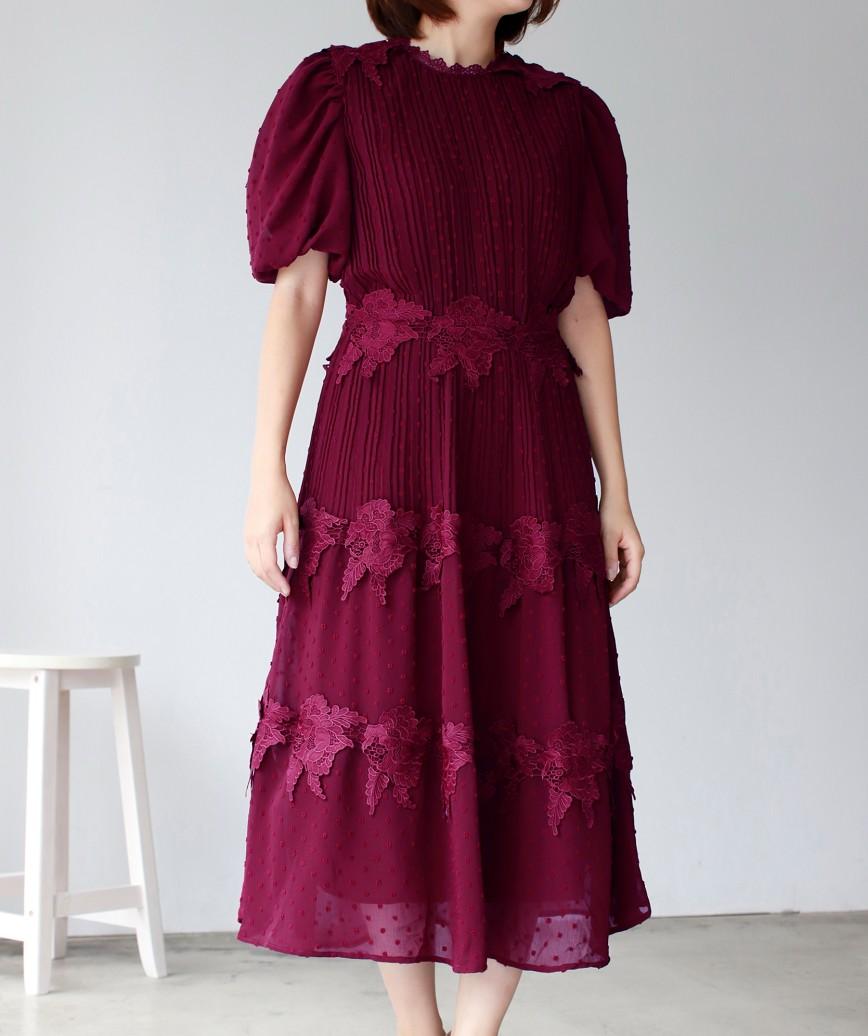 ボリュームトップパフスリーブAラインミディアムドレス-ボルドー-M