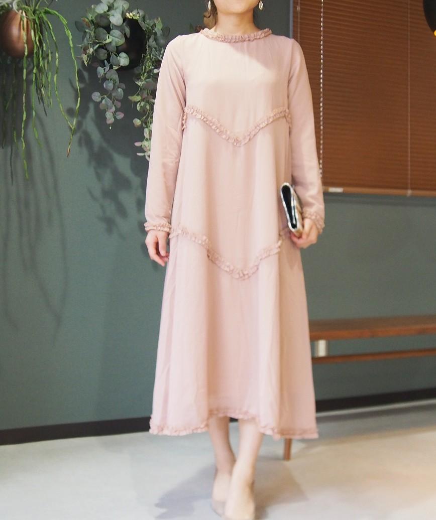 ハイネックコンフォータブルAラインロングドレス-ピンク-M