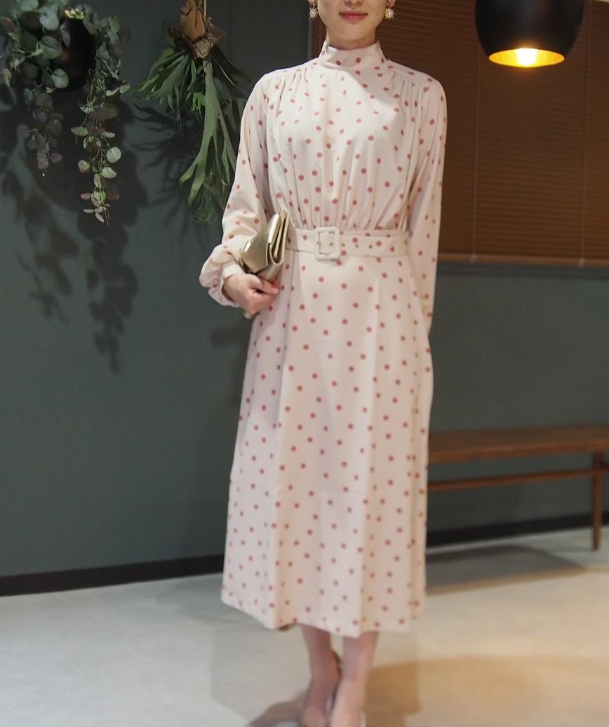 ハイネックウエストマークポルカドットミディアムドレス-ピンク-M