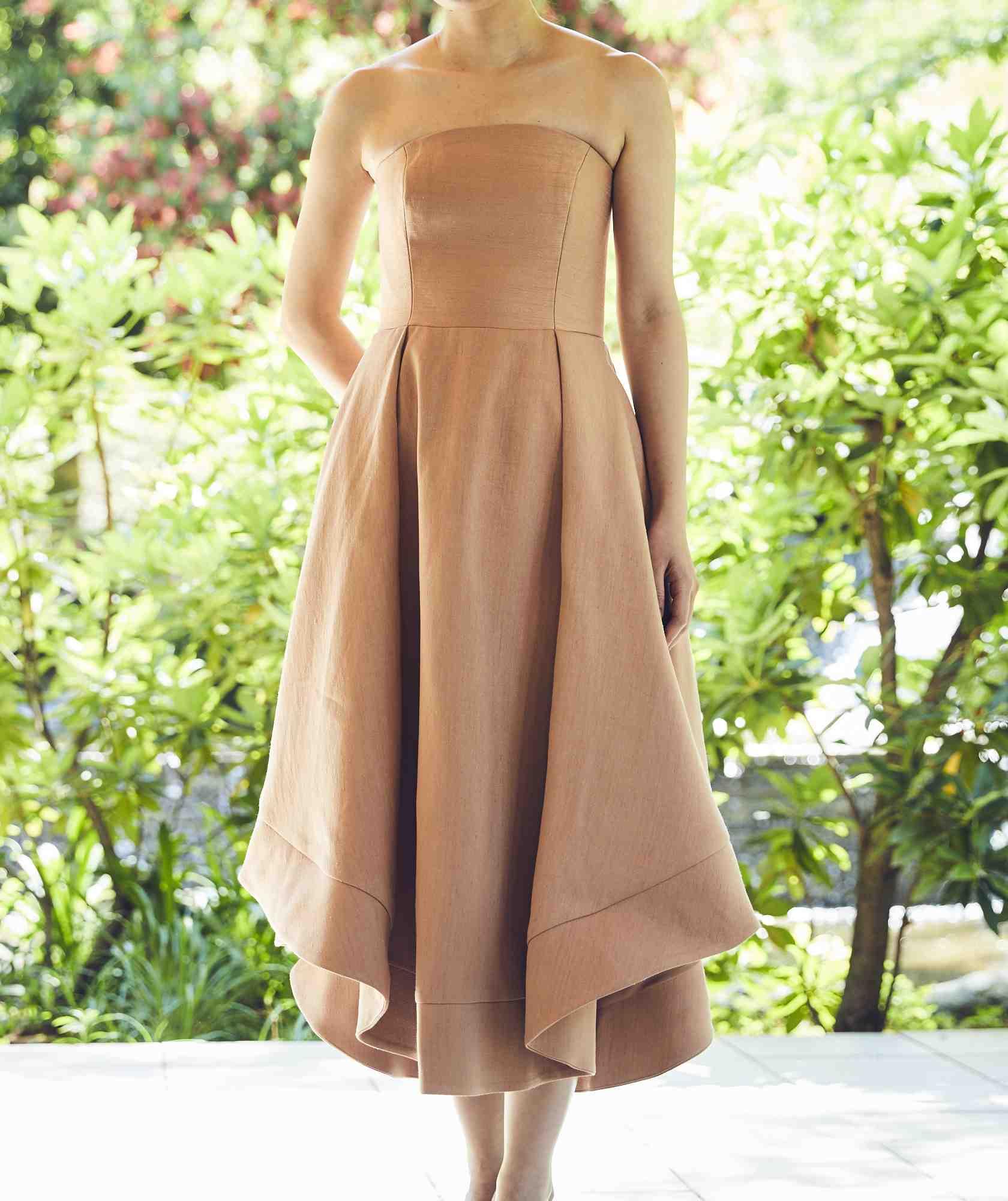 ボリュームラインカラーベアミディアムドレス-ベージュ-M