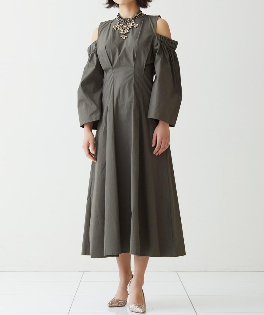 オープンショルダーコットンミディアムドレス-カーキ-M