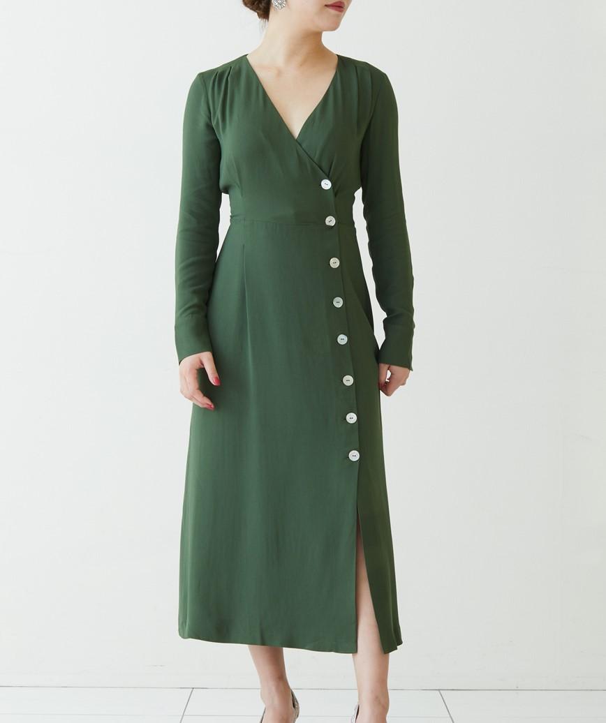 フロントボタンクロスオーバーミディアムドレス―グリーン-M
