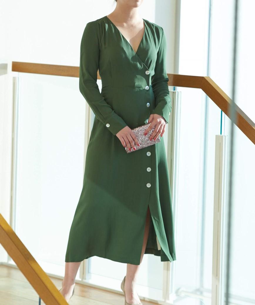 フロントボタンクロスオーバーミディアムドレス―グリーン-L