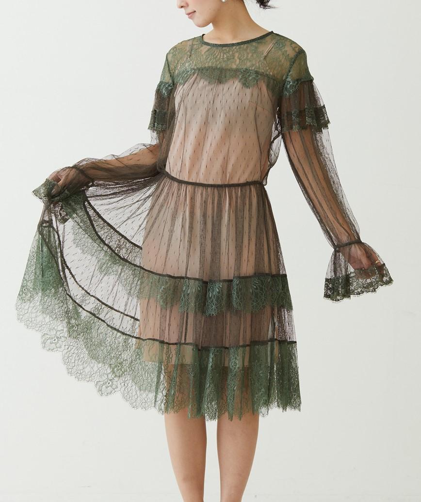 レースレイヤードシルエットショートドレス-グリーン-M-L