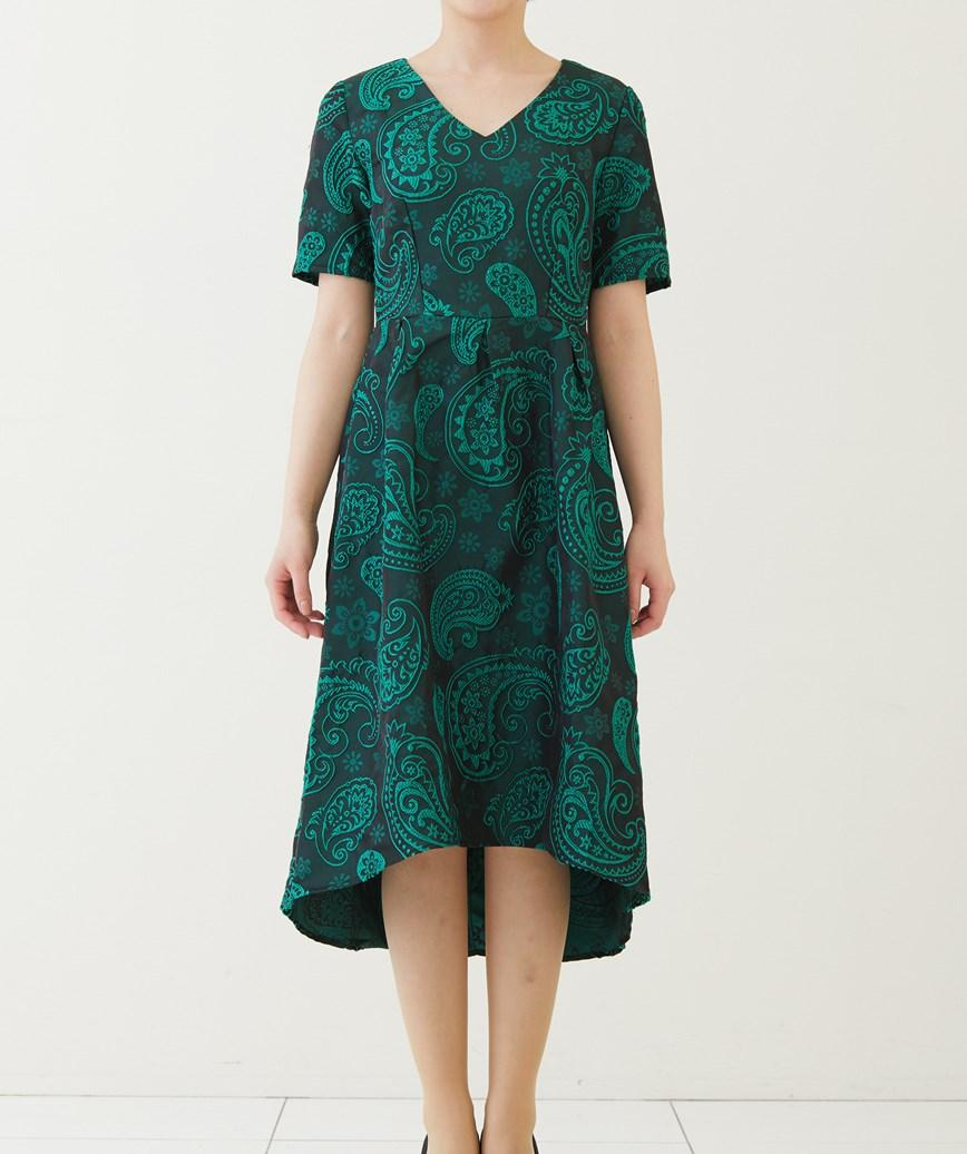 ジャガードフレアミディアムドレス-グリーン-M-L
