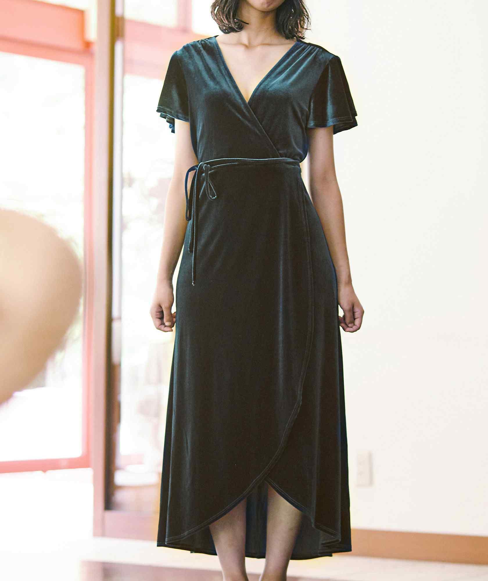 ベルベットラップロングドレス-グリーン-M-L
