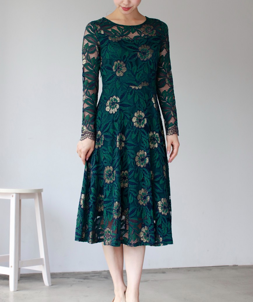 フラワーレースロングスリーブAラインミディアムドレス-グリーン-L