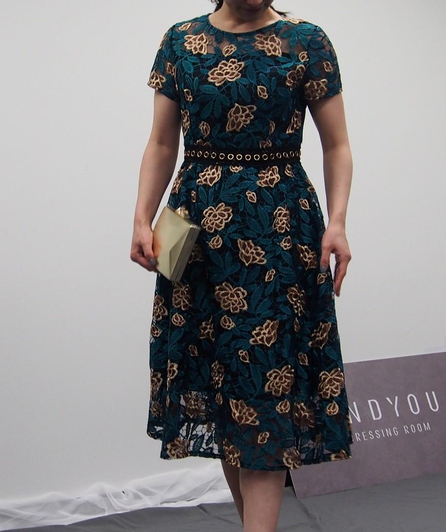 フラワーレースクルーAラインミディアムドレス-グリーン-M