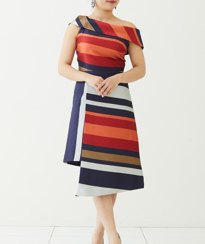 オフショルダーストライプショートドレス―マルチ-M