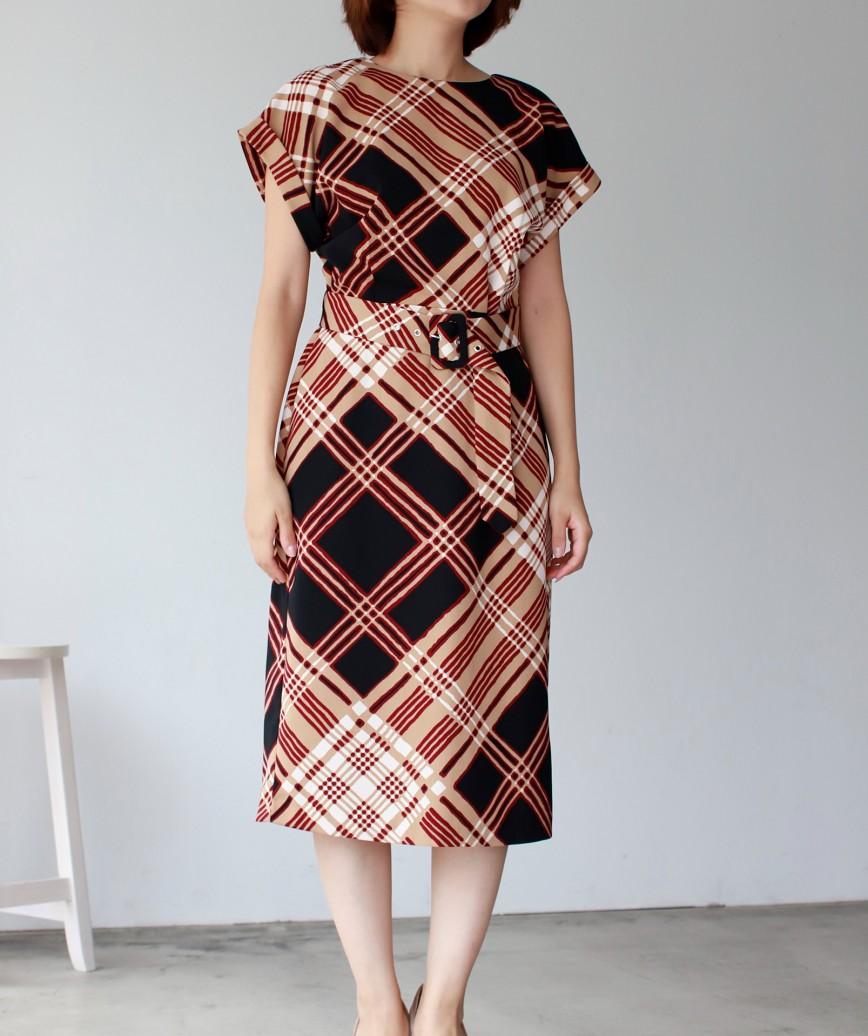 フルパターンチェックベルトクルーミディアムドレス-マルチ-M