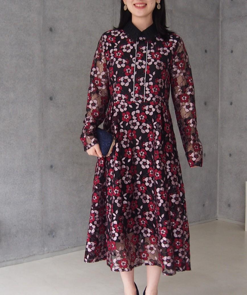 カラーフラワーパターンミディアムドレス-マルチ-M