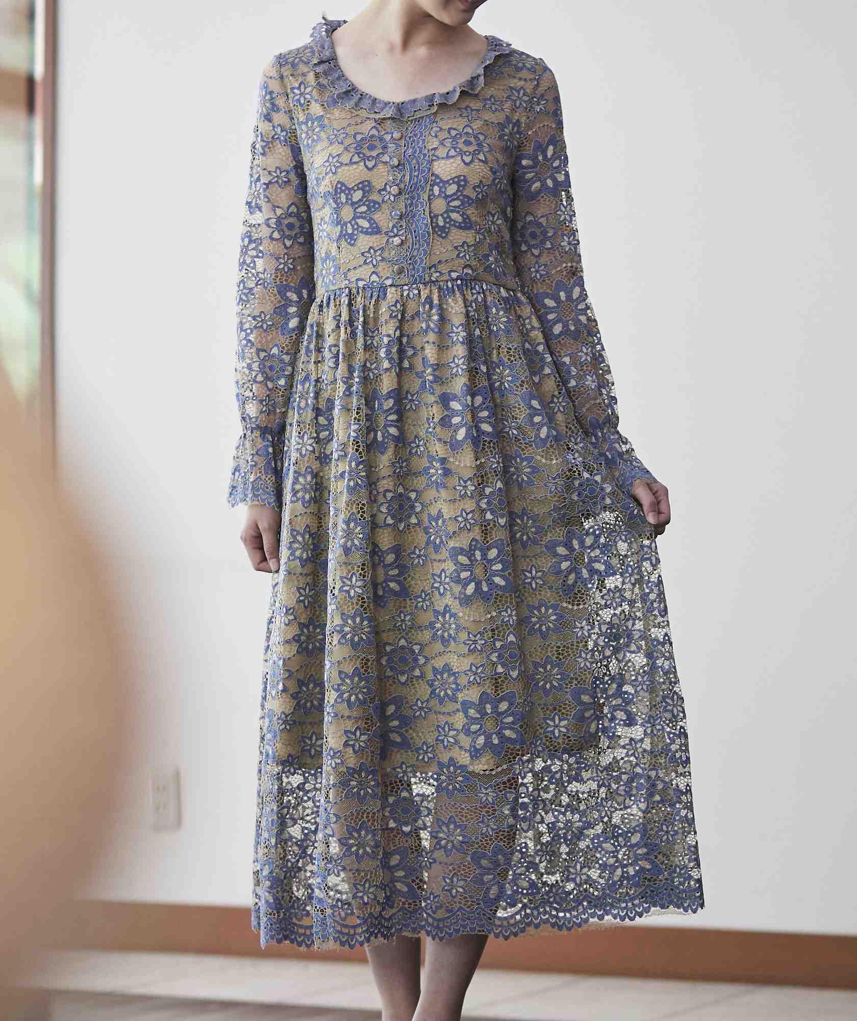 ブルー×ベージュフルレーススリーブミディアムドレス-ブルー-L