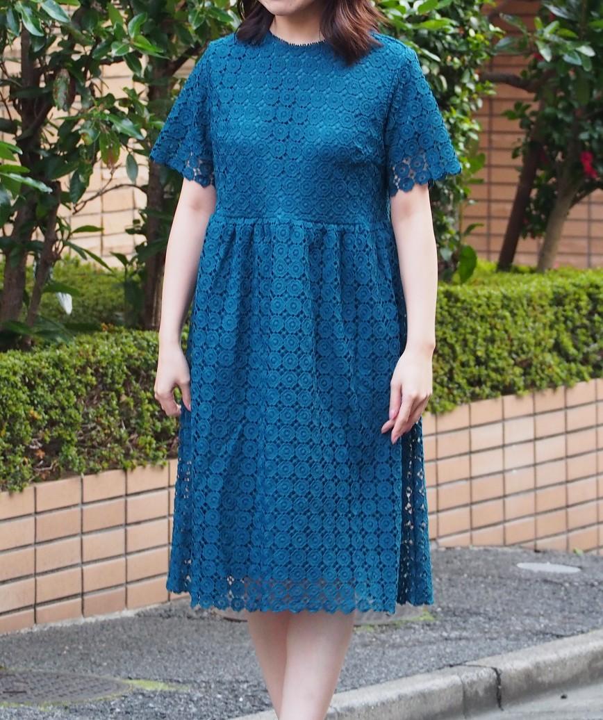 ショートスリーブフルレースAショートドレス-ブルー-L