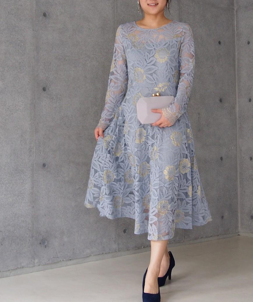 フラワーレースロングスリーブAラインミディアムドレス-ライトブルー-M