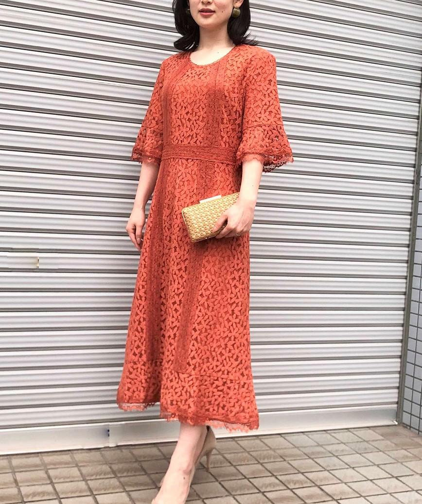 フルレーススリーブスモーキーフレアミディアムドレス-オレンジ-L