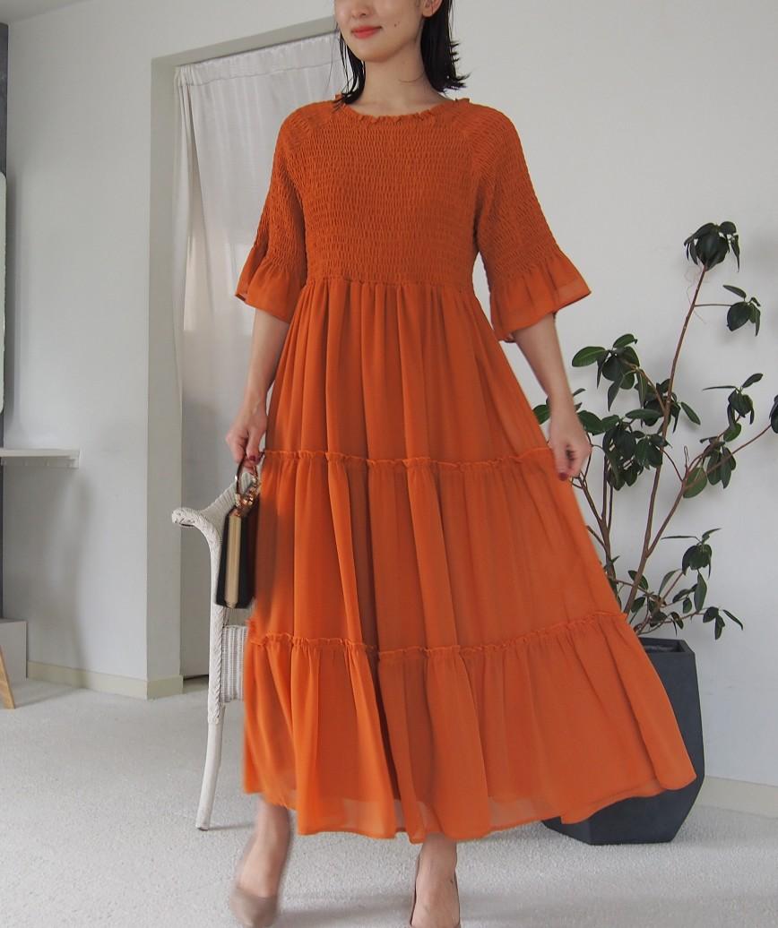 ギャザートップフリルスリーブAラインミディアムドレス-オレンジ-L
