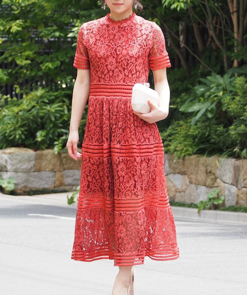 ハイネックフルレースAラインミディアムドレス-ピンクオレンジ-L