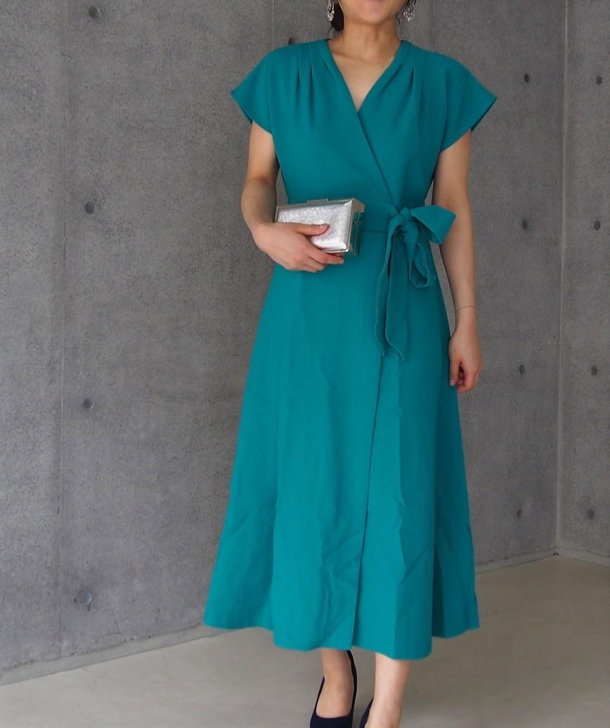 シンプルダウンラップミディアムドレス-グリーン-L