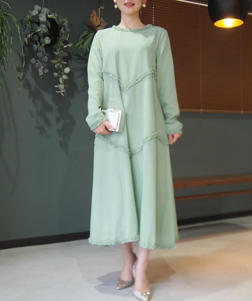 ハイネックコンフォータブルAラインロングドレス-グリーン-L