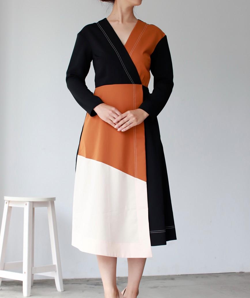 ブロッキングカラーVネックラップミディアムドレス-マルチ-L