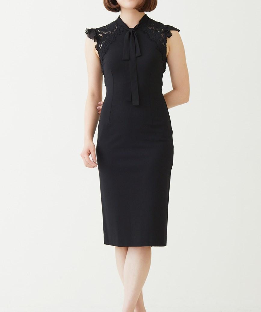 フリルスリーブタイトショートドレス―ブラック-XS