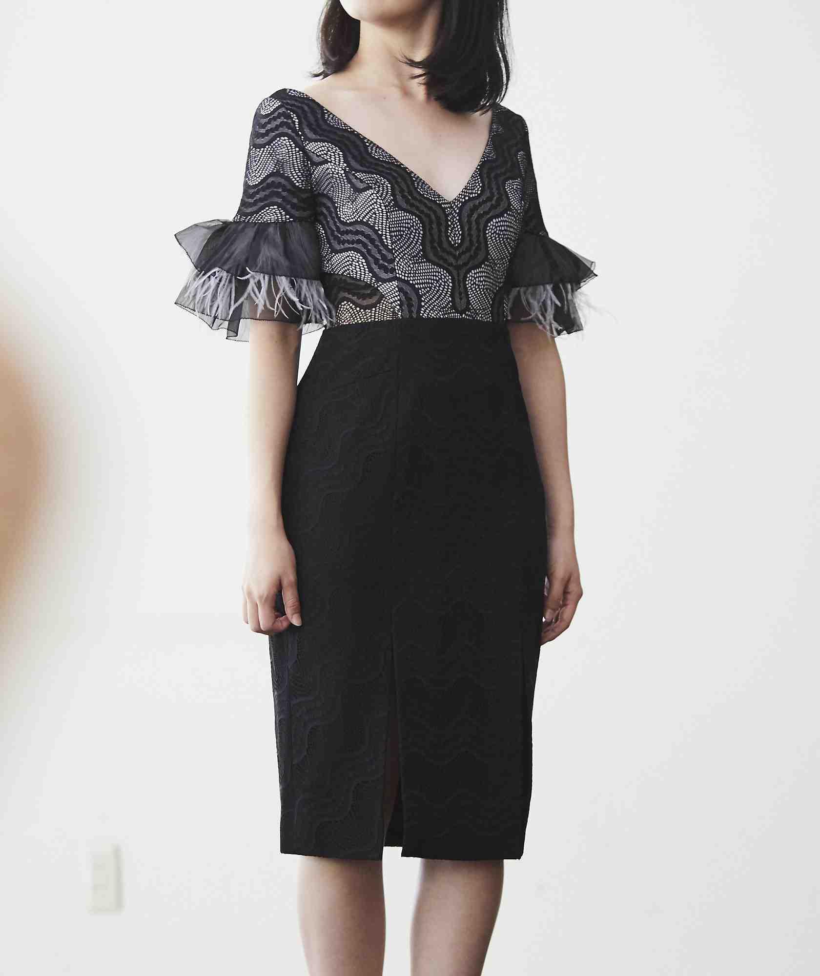 フェザースリーブVネックミディアムドレス-ブラック-S-M