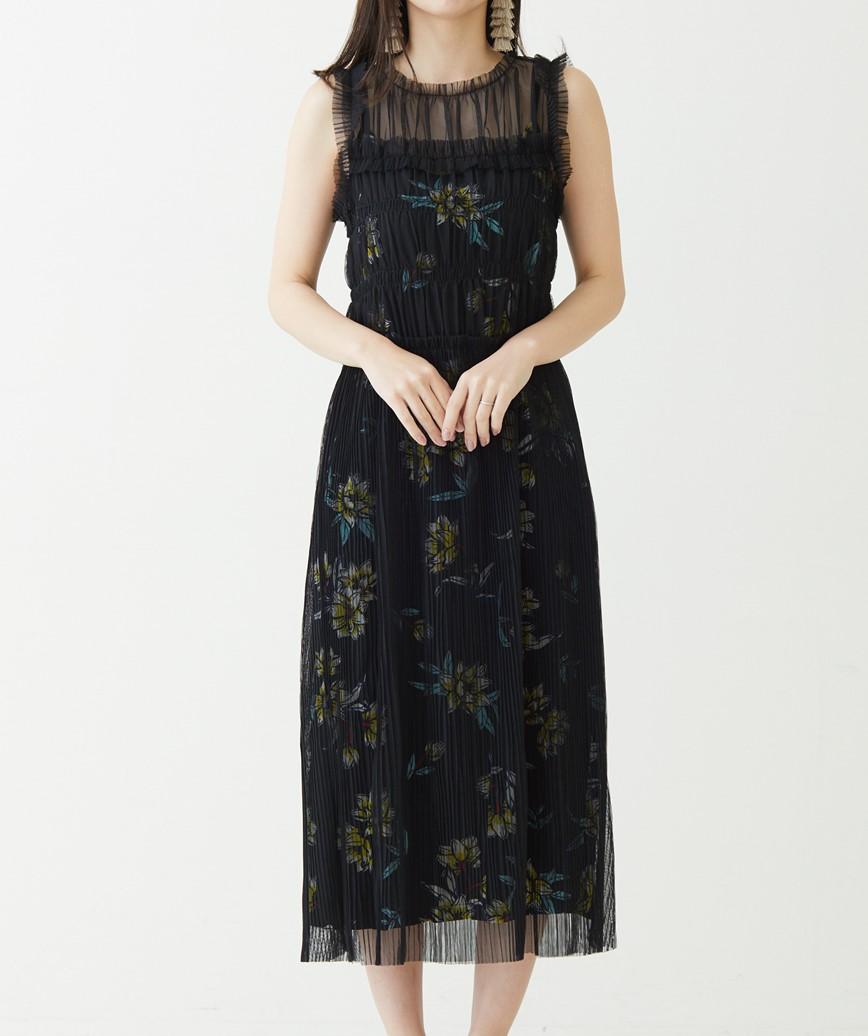 インナープリントフラワーミディアムドレス-ブラック-S