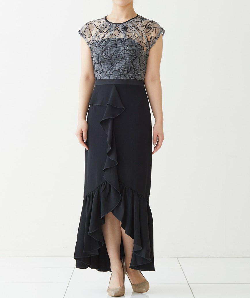 エンブロイダリーレースタイトミディアムドレス―ブラック-S
