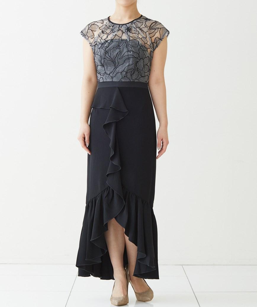 エンブロイダリーレースタイトミディアムドレス-ブラック-XS
