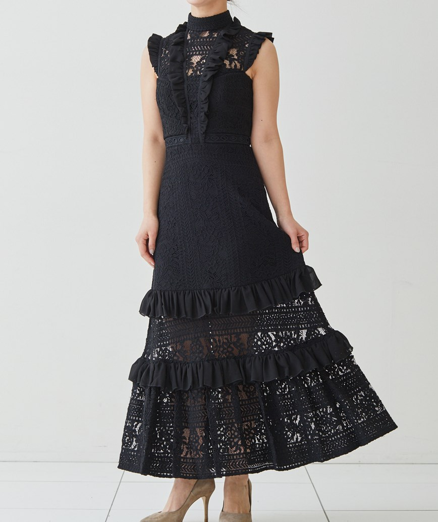 レイヤードフリルレースロングドレス―ブラック-XS