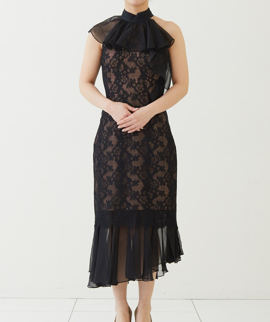 アシンメトリーラッフルミディアムドレス-ブラック-XS