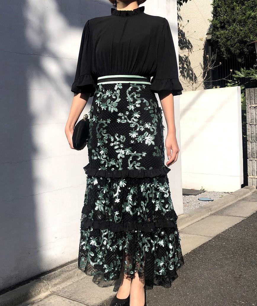 フレアスリーブスパンコールマーメイドミディアムドレス-ブラック-XS