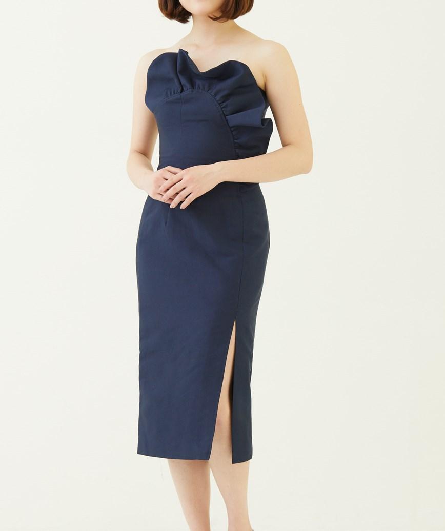 トップモチーフタイトミディアムドレス―ネイビー-XS