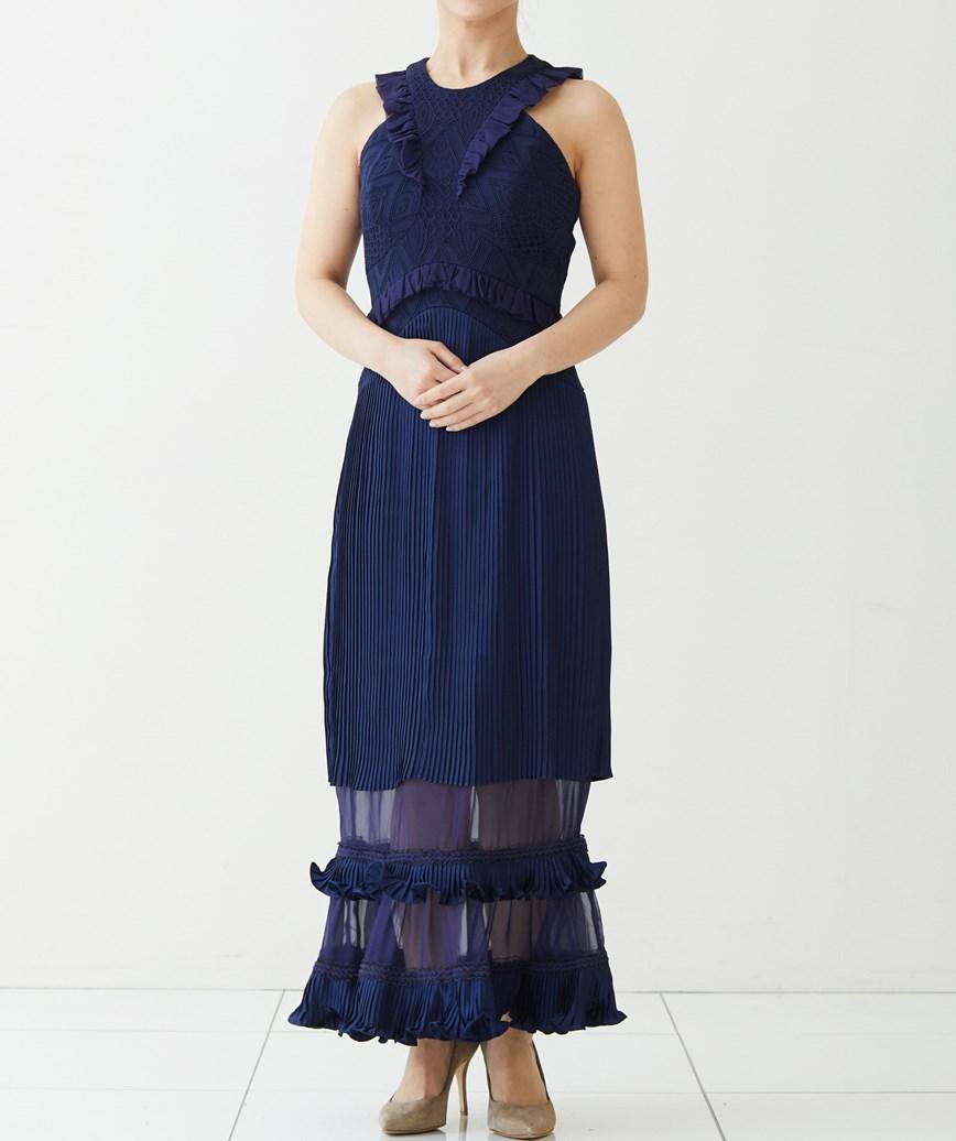 アメリカンスリーブレースロングドレス―ネイビー-S