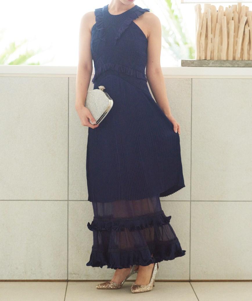 アメリカンスリーブレースロングドレス―ネイビー-XS