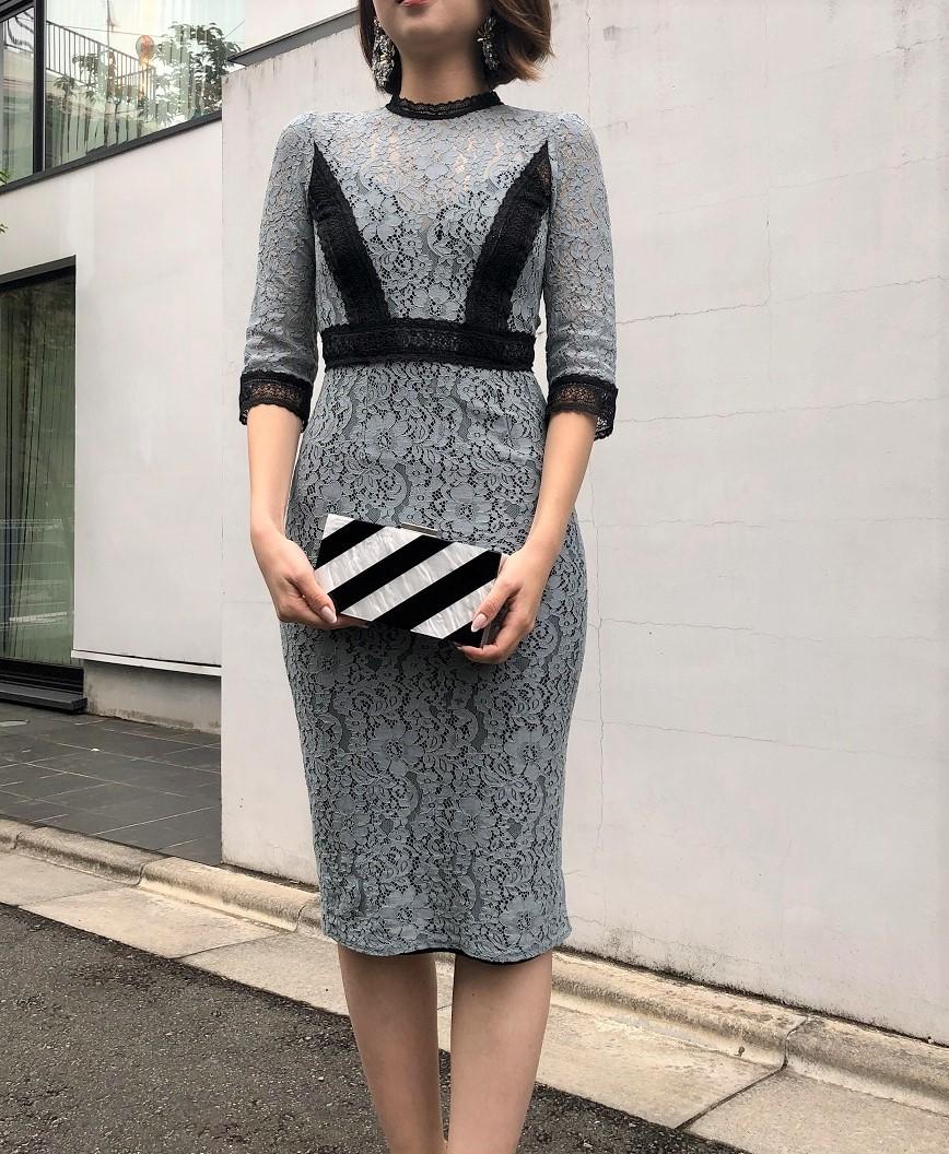 フルレーススモーキータイトミディアムドレス -ブルー-XS