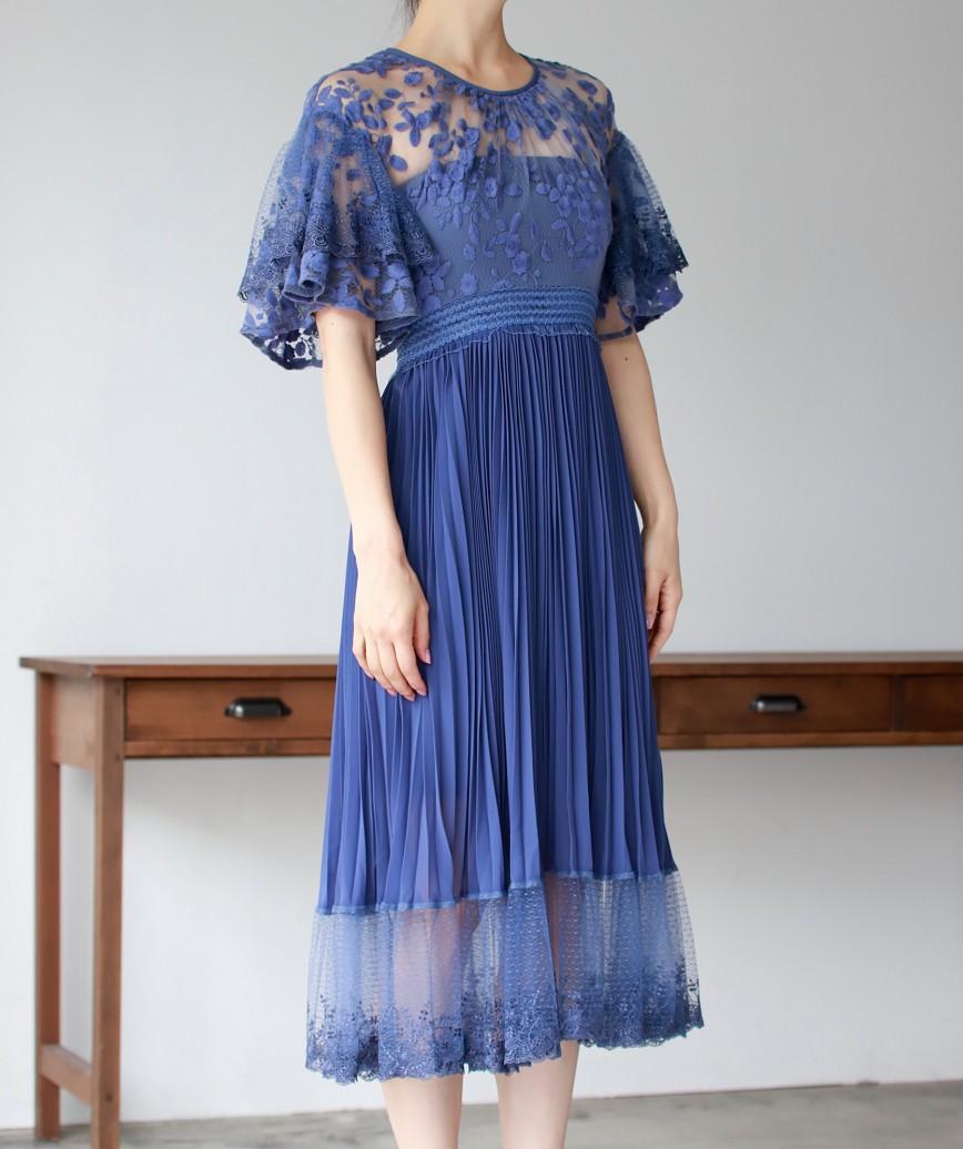 ボリューミースリーブレイヤードミディアムドレス-ブルー-XS