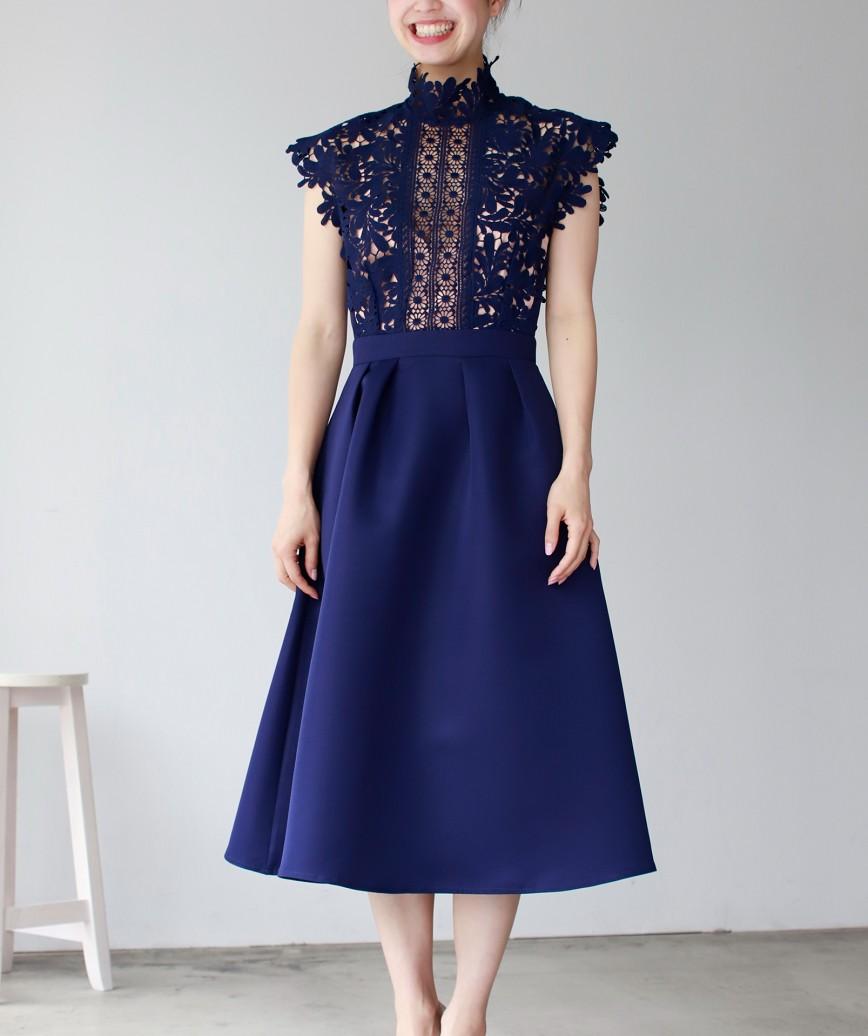ハイネックレースフレンチAラインミディアムドレス-ネイビー-XS