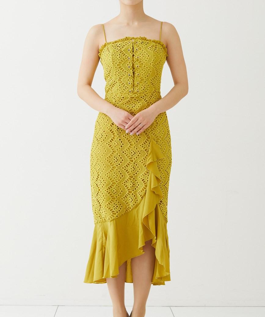 ストラップショルダーフリルミディアムドレス-イエロー-S