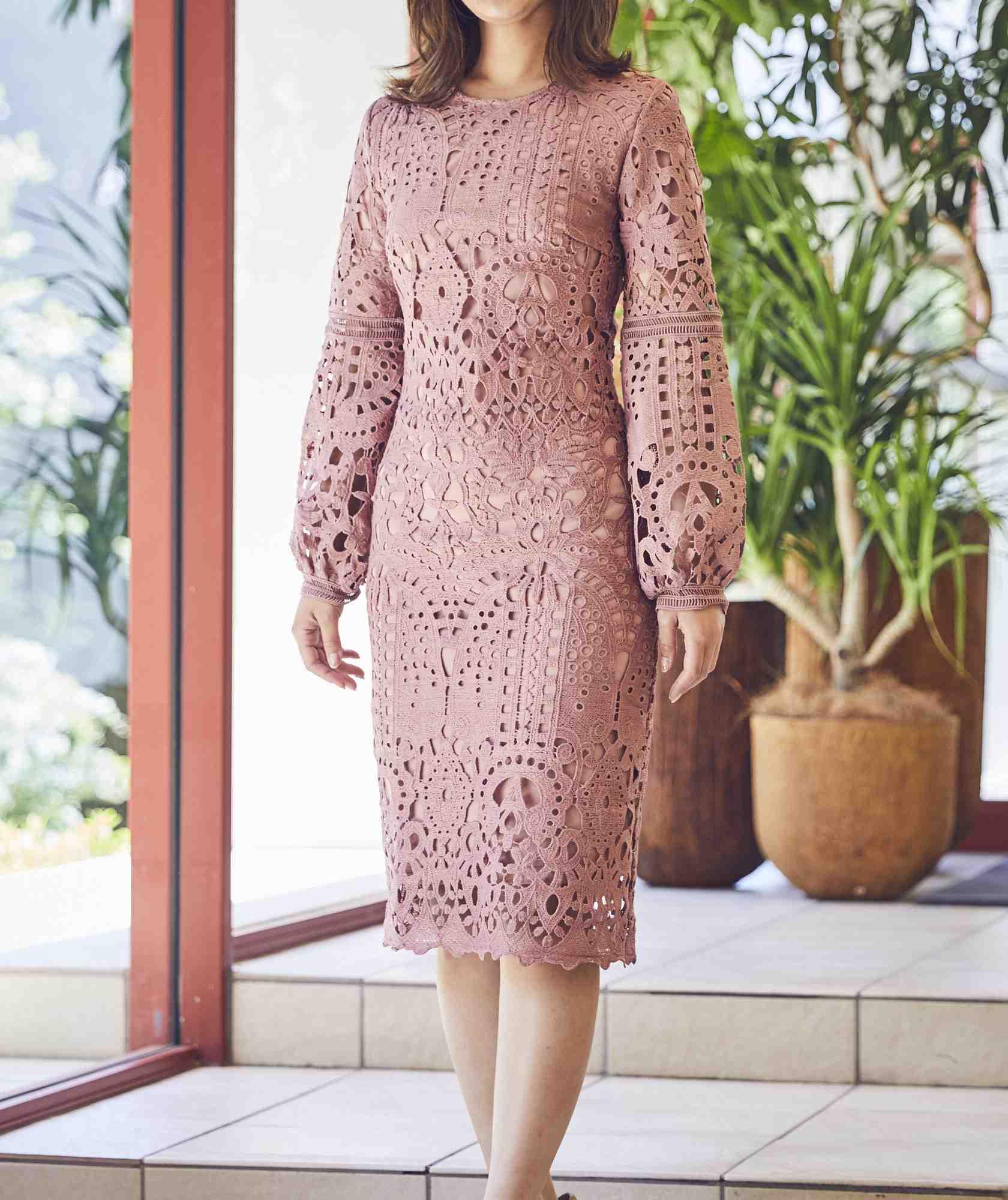 ボリュームスリーブレースタイトショートドレス-ピンク-XS