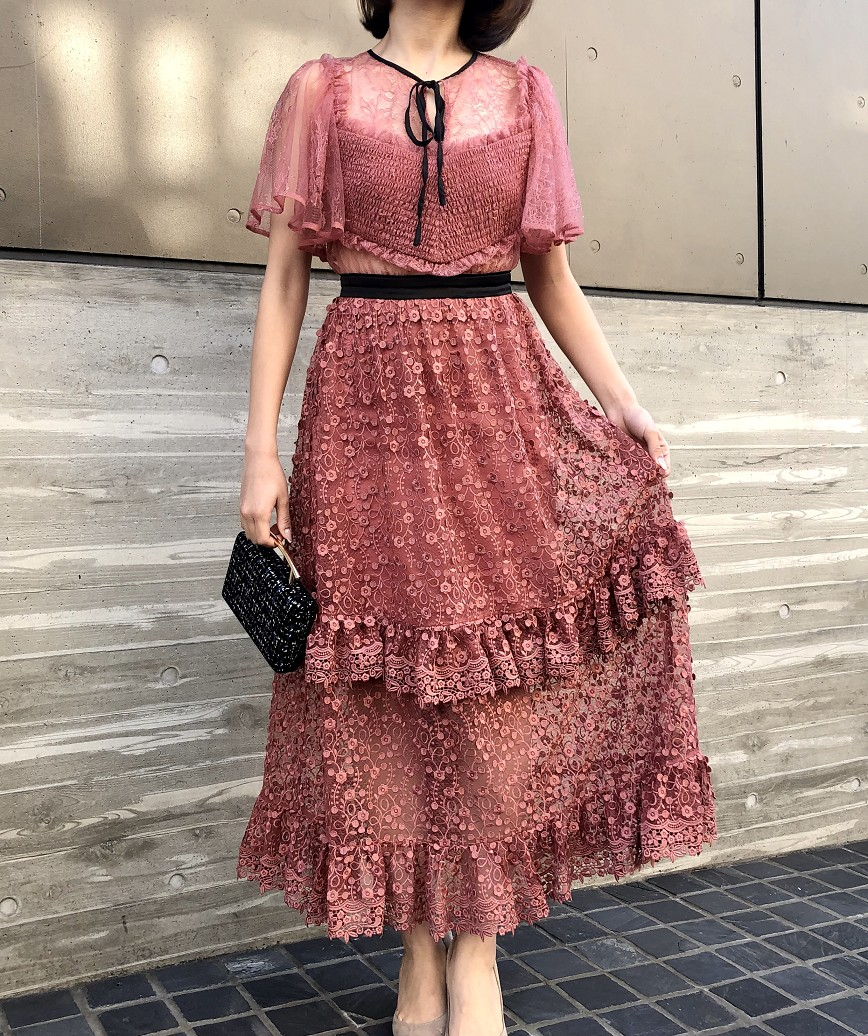 レイヤードスカートスルーレースミディアムドレス-ピンク-XS