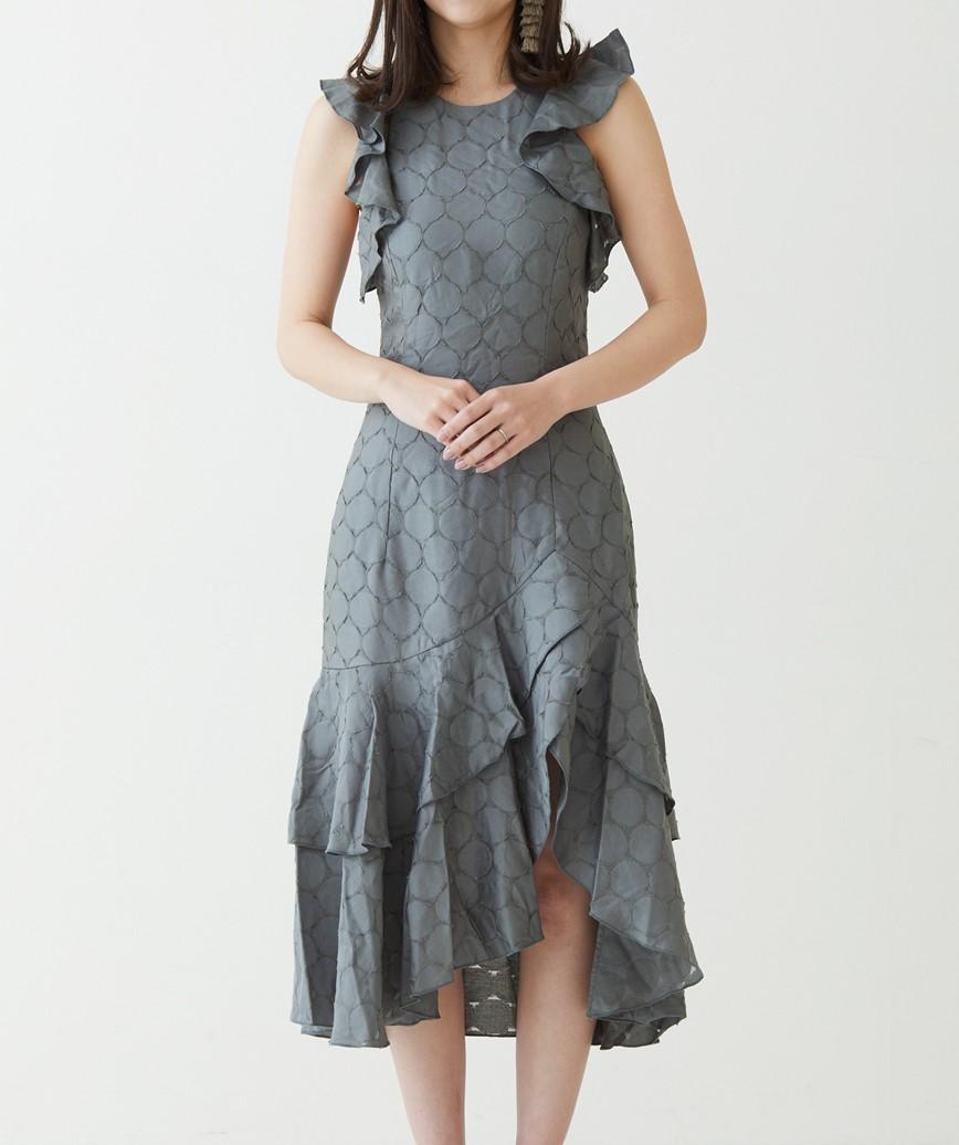 フリルショートスリーブミディアムドレス-カーキ-XS