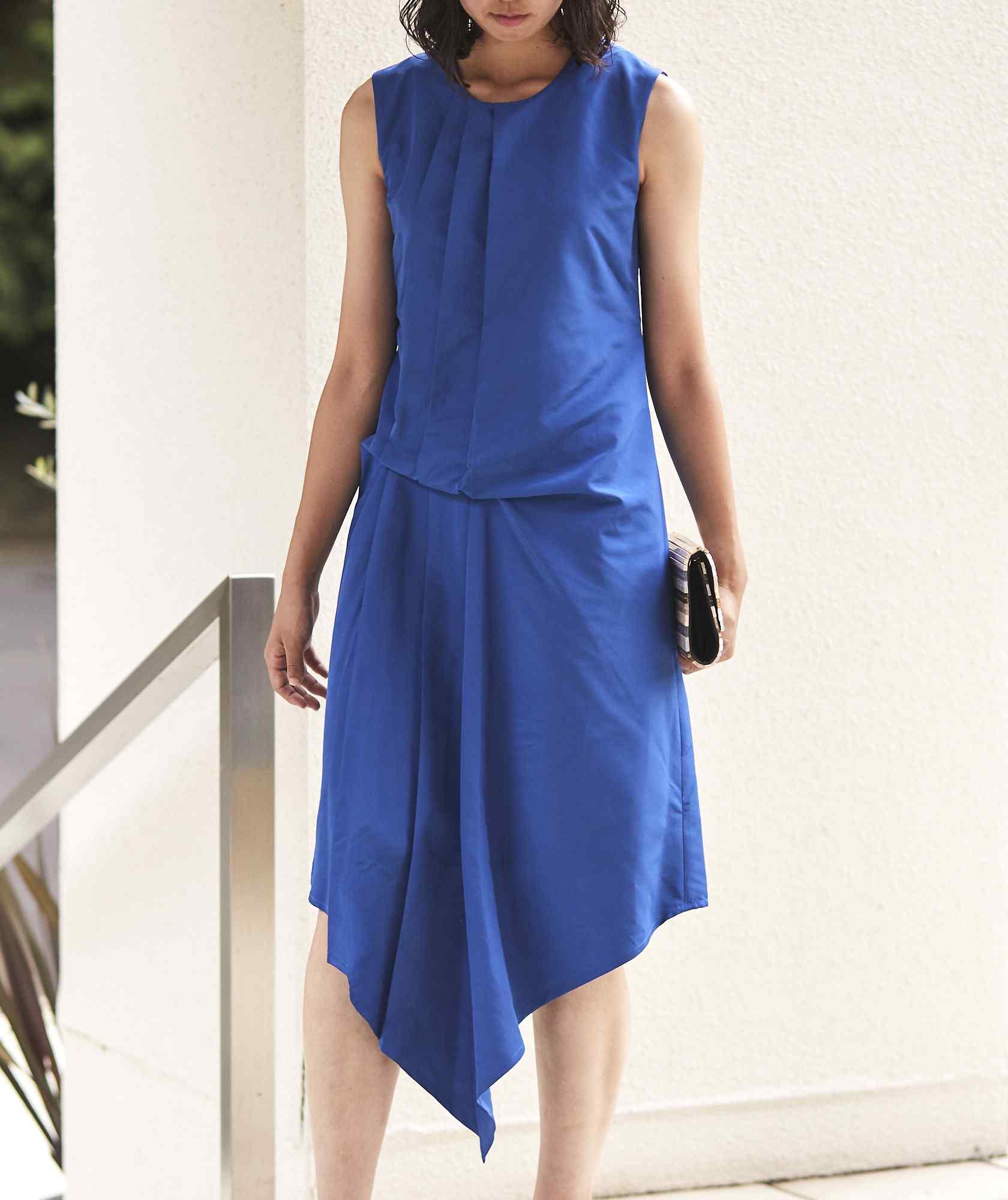 クルーネックデザイントップOGAラインミディアムドレス-ブルー-M