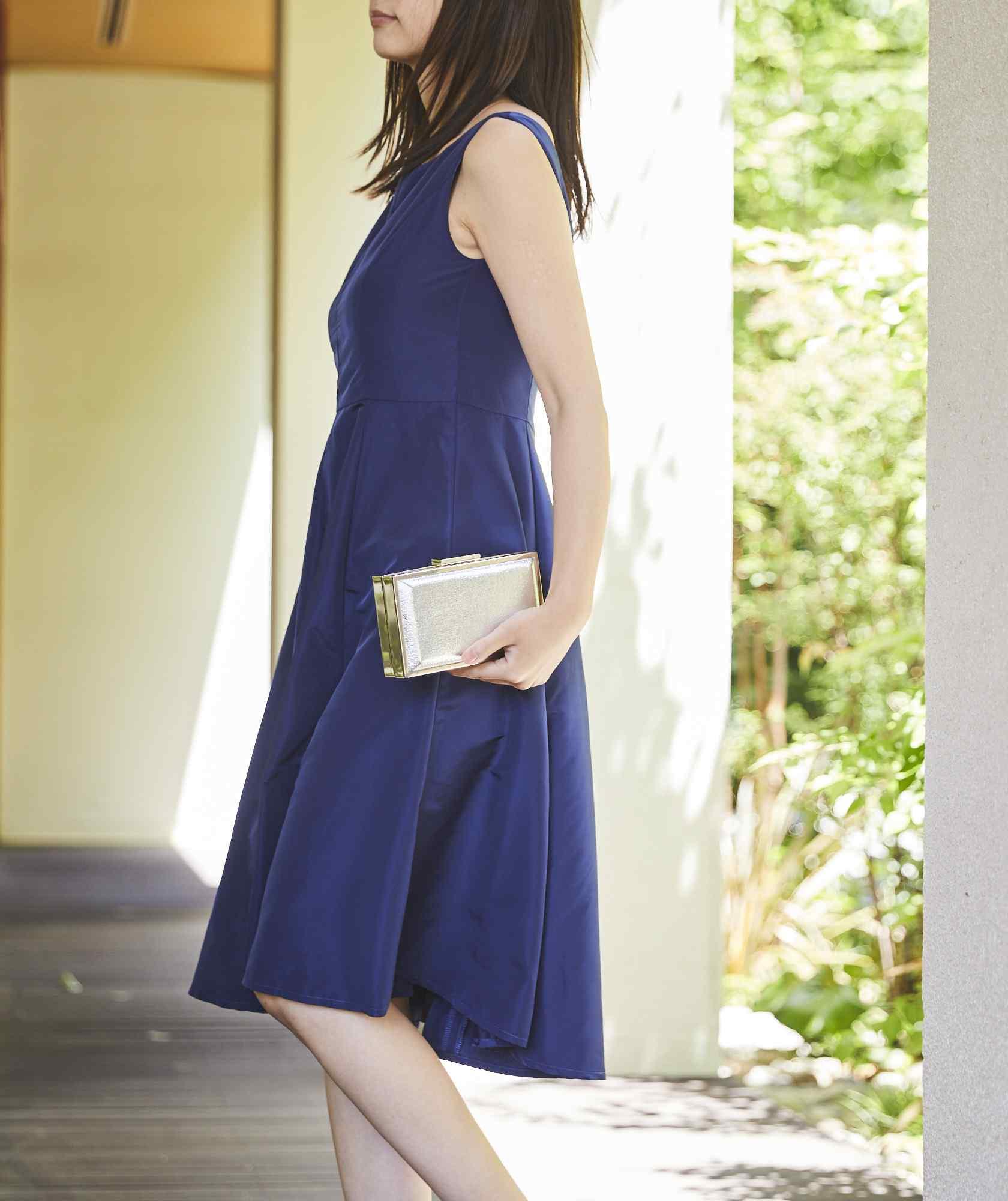 クルーVバックOGAラインミディアムドレス-ブルー-M