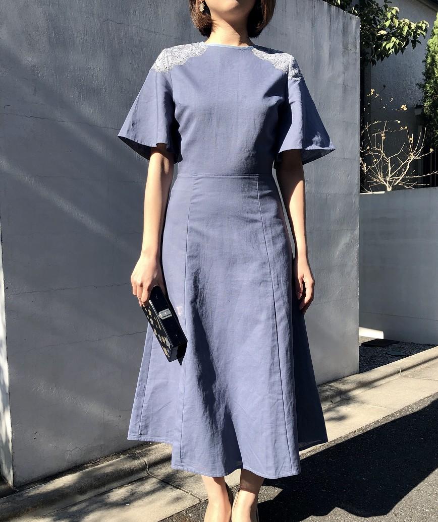 OGスモーキーフリルスリーブミディアムドレス-ブルー-S