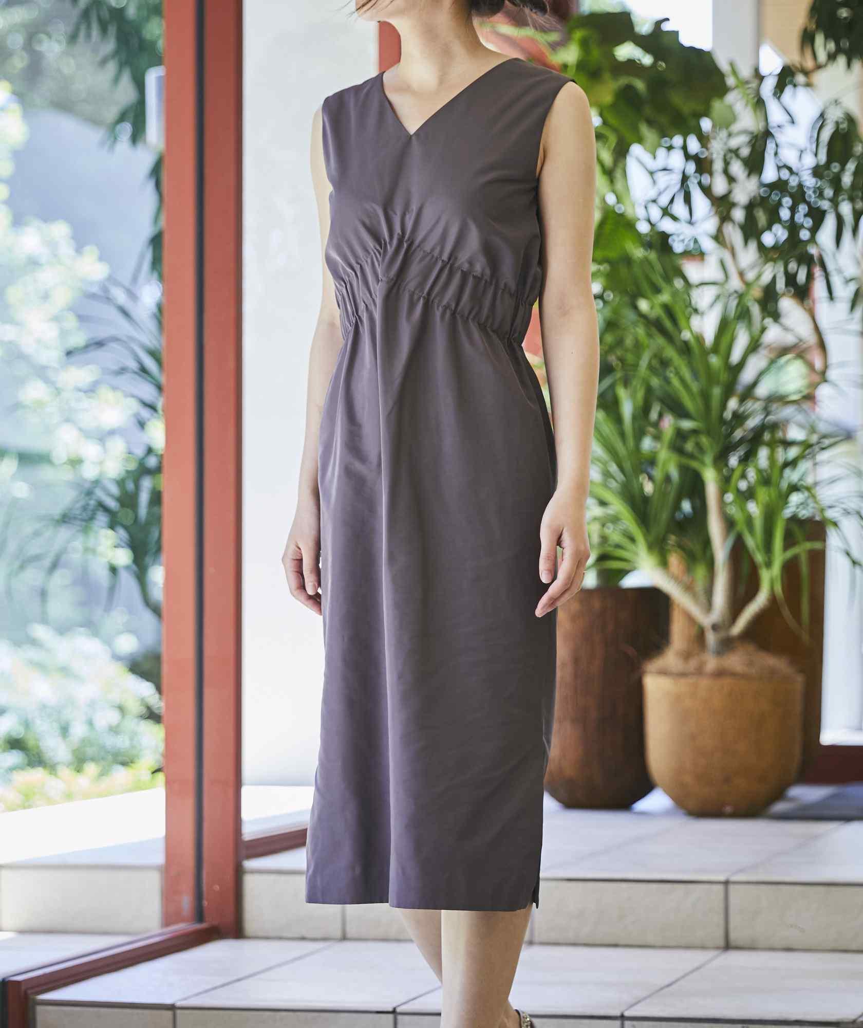 VネックシャーリングOGタイトミディアムドレス-グレー-S