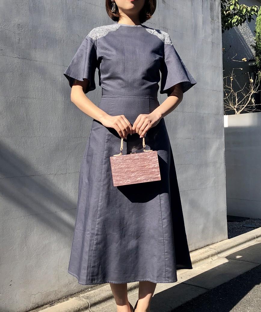 OGスモーキーフリルスリーブミディアムドレス-グレー-S